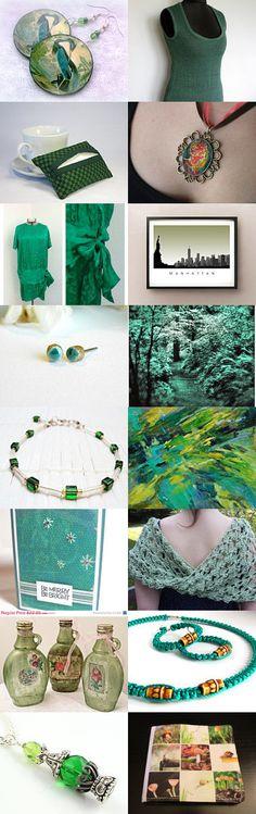 Jewel Greens by Rashmi Thakur on Etsy--Pinned with TreasuryPin.com #annehermine #handkerchiefbag