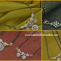 Diamond Pendant Black Beads Mangalsutra Designs