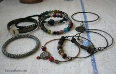 Bangle Stack set 734 - set of 10 Bangles - urban gypsy bracelets. $42.00, via Etsy.