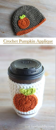 Make this Easy, 10 Minute Crochet Pumpkin Applique to add to a homemade crochet coffee cozy or to a homemade crochet baby beanie (or an adult one! Just like the title says, it only takes 10 minutes to make this pumpkin applique! Pumpkin Applique, Crochet Pumpkin, Diy Pumpkin, Diy Craft Projects, Crochet Projects, Crochet Ideas, Project Ideas, Crochet Coffee Cozy, Crochet Baby Beanie