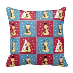 PILLOW: Fat Dog as Santa, Rudolph the reindeer, Snowman, and sitting at the tree. Good boy! He's fun, festive, and adorable for any dog lover at Christmas! www.fatdogcreatives.com  fat dog, santa, reindeer, snowman, snow, sit, tree, dog-lover, Christmas