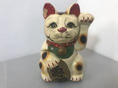 Japanese doll Cat Maneki Neko RED MUD rare maneki neko Handmade maneki doll cat unique maneki cat neko 1910s handcrafted maneki (#299)