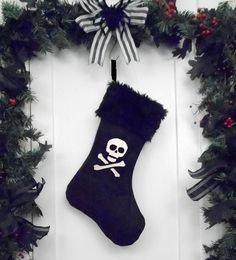 Punk Goth Pirate Christmas Stocking Skull and by WorkingClassPunx