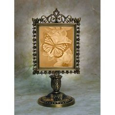 Butterfly Victorian Lithophane Stand Lamp