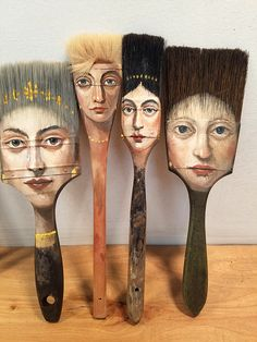 Alexandra-Dillon axe painting brush artwork, Artist Alexandra Dillon Paints Classic Portraits On Everyday Objects Art And Illustration, Illustration Fashion, Art Illustrations, Paint Brush Art, Paint Brushes, Art Altéré, Art Sketches, Art Drawings, Drawing Drawing