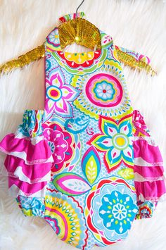 Baby Girl Romper Floral and Chevron Ruffle by AllThatGlittersBaby