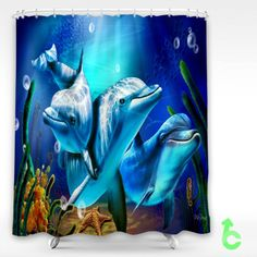 Cheap Dolphins swimming underwater Shower Curtain