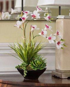 5 Miraculous Clever Ideas: Artificial Flowers For Hair artificial plants indoor with lights.Clean Artificial Plants Trees artificial flowers for hair. Artificial Plants And Trees, Artificial Plant Wall, Artificial Flowers, Orchid Flower Arrangements, Artificial Flower Arrangements, Indoor Flowers, Plants Indoor, Plant Box, Dendrobium Orchids