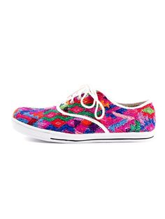 Artisan crafted tennis shoes, made from Huipil hand-woven cotton textile and recycled fabrics #handmade #artisans