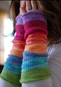 Rainbow wrist warmers for Tracey <3
