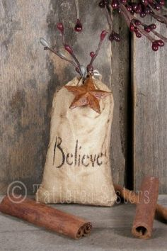 Tattered Sisters Primitives: Primitive Christmas Believe bag ornie