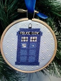 Tardis Cross Stitch Christmas Ornament  A by KimberlysKrossStitch, $20.00