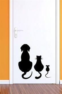 Sticker chien, chat et souris<BR>Noir