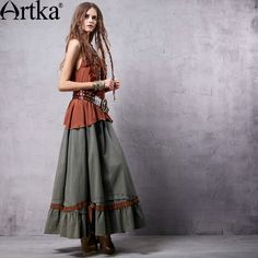 Artka Women's Vintage Washed Ruched Cotton Skirt  Elastic Waist Ankle-length All-match Swing Hem Skirt With Ruffles QA15353Q