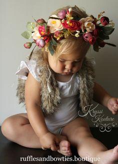 COMING SOON - Deep Red Floral Head Wreath, Baby Halo, Flowergirl, Gloral Head…