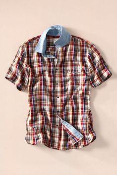 Men's Short Sleeve Madras Chambay Club Collar Shirt from Lands' End Canvas