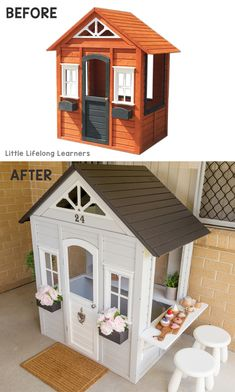 Before and After of our Kmart Cubby hack for our toddler and preschooler. We painted and decorated the kids cubby house from Kmart for our backyard! Kids Cubby Houses, Kids Cubbies, Play Houses, Daycare Cubbies, Kids Outdoor Play, Kids Play Area, Backyard For Kids, Play Areas, Backyard Playset