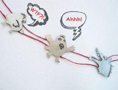Funny necklace  alpaca silver jewelry  Long by PikipokaJewelry