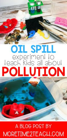 Help your kids understand the disastrous effects of water pollution with his Oil Spill Experiment. This hands on science activity will allow them to see for themselves exactly how difficult cleaning up oil spills in the ocean really are. Earth Science Activities, School Age Activities, Science Week, Ocean Activities, Science Projects For Kids, Science For Kids, Science Art, Math Projects, Kindergarten Science