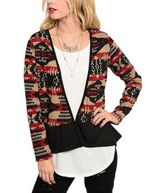 Another great find on #zulily! Black & Red Tribal Open Cardigan #zulilyfinds