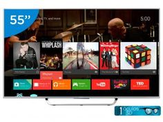 Smart TV LED 3D 55 Sony KDL-55W805C Full HD - Conversor Integrado 4 HDMI 2 USB 1 Óculos 3D