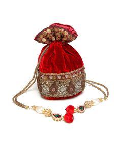 Embroidered red Velvet gifting Potli