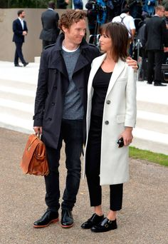 Benedict Cumberbatch and Sophie Hunter attend the Burberry Prorsum show during London Fashion Week Spring/Summer 2016/17 on September 21, 2015 in London, England. (Photo by Anthony Harvey/Getty Images)