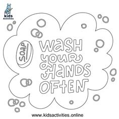 Free ! wash your hands coloring pages ⋆ Kids Activities Cool Coloring Pages, Coloring Sheets, Coloring Books, Free Printable Worksheets, Free Printable Coloring Pages, Doodle Coloring, Hand Coloring, Hand Washing Poster, Kids Hands