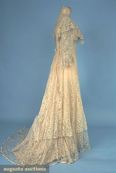 ~Trained Lace Tea Gown, One Piece With Brussels Lace Applique Om Net And Inserts Of Heavier Floral Motif Bobbin Lace   c. 1905~