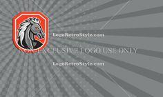Horse Head Shield Retro Business card Logo-Illustration