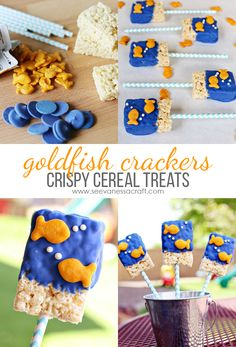 Goldfish Cereal Treats Goldfish Crackers Crispy Cereal Treats Recipe - perfect for a goldfish party!Goldfish Crackers Crispy Cereal Treats Recipe - perfect for a goldfish party! Goldfish Party, Goldfish Crackers, Kinder Party Snacks, Pool Party Snacks, Shark Party, Party Games, Fete Vincent, Fete Emma, Bubble Guppies Birthday