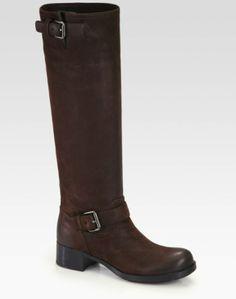 Prada Brown Nubuck Leather Buckle Boots