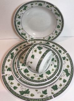 Sango Ivy Charm 5 Piece Place Setting Green Ivy & Band Dinnerware 8854 Oven Safe #Sango