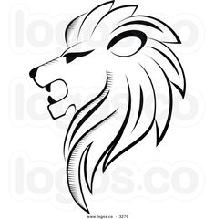 Royalty Free Vector of a Black and White Lion Head Logo by ...