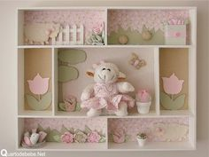 quadro 3d ovelhinhas para quarto de bebê