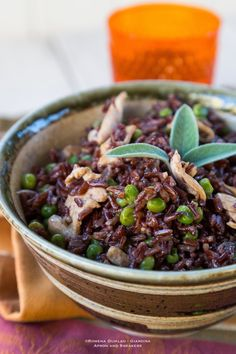 Sautèed Red Rice with Peas and Chicken.