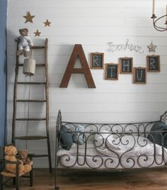 Like the idea of individual chalk boards for each letter to spell out name.