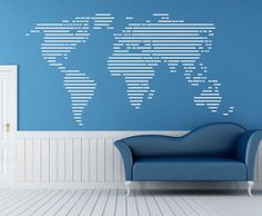 Removable Vinyl Abstract World Map Wall Decal by CustomWallDecal, $49.98