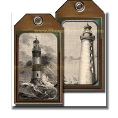 Hang tag label - Lighthouses and Cutter ship burlap tags - digital, print your own home decor items from ShornSheepPrintables