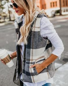 Plaid Pocketed Vest