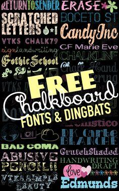 Tons of Free Chalkboard Fonts and Dingbats! U Create - Fonts - Ideas of Fonts - Tons of Free Chalkboard Fonts and Dingbats! Cute Fonts, Fancy Fonts, All Fonts, Computer Font, Chalkboard Signs, Chalkboards, Chalkboard Fonts Free, Chalkboard Clipart, Photoshop