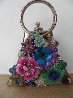 Repurposed vintage jewelry handbag.  OOAK  www.calendargirljewelry.com