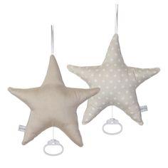 Spieluhr Stern beige mit weißen Sternen
