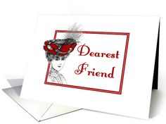 Mother's Day-For Friend-Vintage-Victorian Lady In Red Hat card