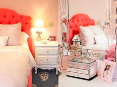 Pink girls room with coral headboard.