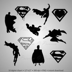 """Buy 2 Get 1 Free! Digital Clipart Silhouettes """"Superman"""" logo, cartoon character super hero black images png/eps/svg/dxf and studio files Superman Silhouette, Wooden Cross Crafts, Hama Beads Minecraft, Perler Beads, Superman Logo, Printable Pictures, Black Image, Printing Labels, Watercolor Cards"""