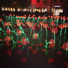Bed of Colorful Roses 12 Most Surreal Light Installations at Lyon's Festival of Lights - My Modern Metropolis