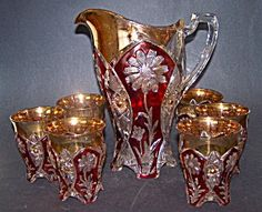 Ruby Flashed 7 pc. Pitcher/Tumbler Set. Click on image for more information.