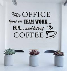 Break Room Wall Decal Office Runs on Teamwork and Coffee - Workplace decoration - Lunch room decor - Vinyl Wall Lettering Available in 3 sizes Inspirational Wall Decals, Vinyl Wall Quotes, Vinyl Wall Decals, Wall Sticker, Office Wall Design, Office Wall Decals, Office Walls, Workspace Design, Office Break Room