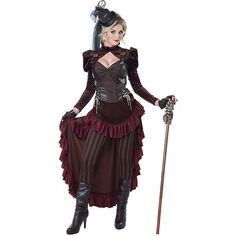 Adult Victorian Steampunk Sexy Costume ($70) ❤ liked on Polyvore featuring costumes, halloween costumes, multicolor, sexy halloween costumes, adult costume, steam punk halloween costumes, sexy costumes and steampunk halloween costume